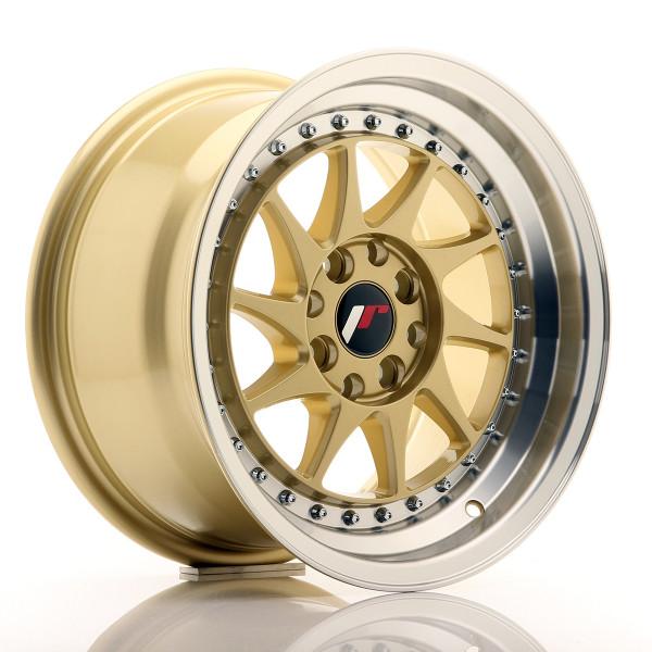 JR Wheels JR26 15x8 ET25 4x100/108 Gold w/Machined Lip