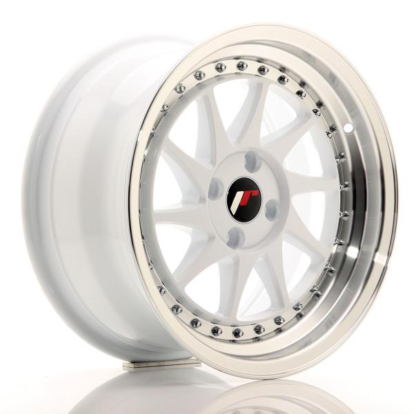 JR Wheels JR26 16x8 ET30 4x100 White w/Machined Lip