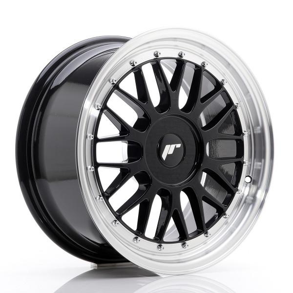 JR Wheels JR23 17x8 ET20-45 BLANK Gloss Black w/Machined Lip