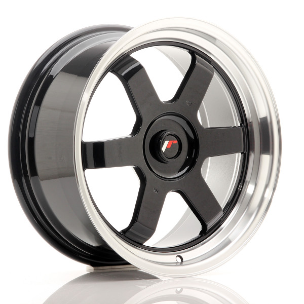 JR Wheels JR12 17x8 ET35 BLANK Gloss Black w/Machined Lip