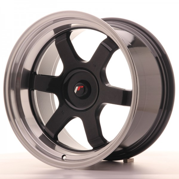 JR Wheels JR12 18x10 ET20-22 BLANK Gloss Black w/Machined Lip
