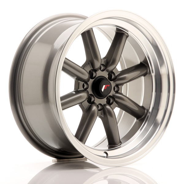 JR Wheels JR19 16x8 ET0 4x100/114 Gun Metal w/Machined Lip