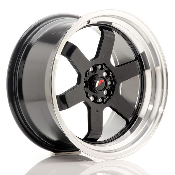 JR Wheels JR12 17x9 ET25 5x100/114 Gloss Black w/Machined Lip