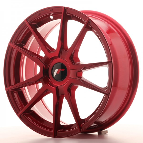 Japan Racing JR21 17x7 ET25-40 Blank Platinium Red