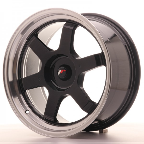 JR Wheels JR12 18x9 ET25-27 BLANK Gloss Black w/Machined Lip