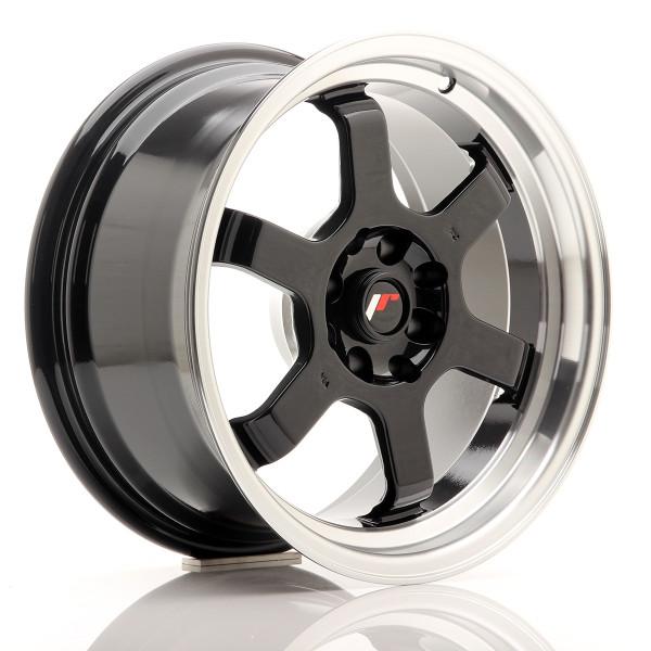 JR Wheels JR12 16x8 ET15 4x100/114 Gloss Black w/Machined Lip